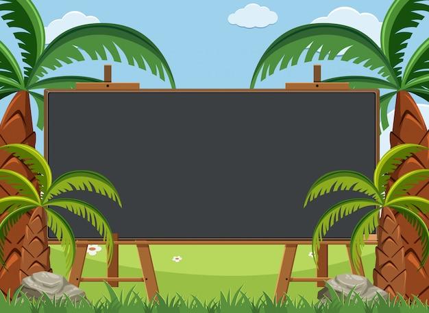 Conception de modèle de tableau noir avec de nombreux palmiers dans le jardin
