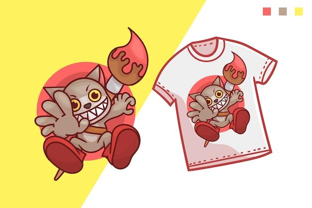 Conception de modèle de tshirt de peinture de chat mignon