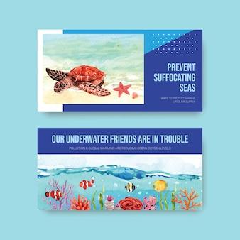 Conception de modèle twitter pour le concept de la journée mondiale des océans avec des animaux marins et un vecteur aquarelle de tortue