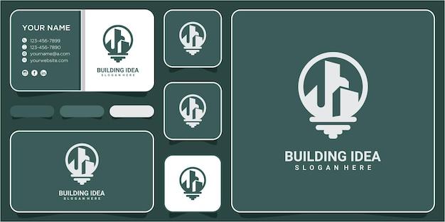 Conception de modèle de vecteur de logo de lampe d'idée de construction. ligne de construction de l'industrie d'usine avec lampe pour la conception d'icônes vectorielles logo idées
