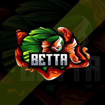 Conception de modèle de vecteur de logo de mascotte betta