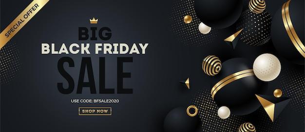 Conception de modèle de vendredi noir avec forme et éléments géométriques noir et or.