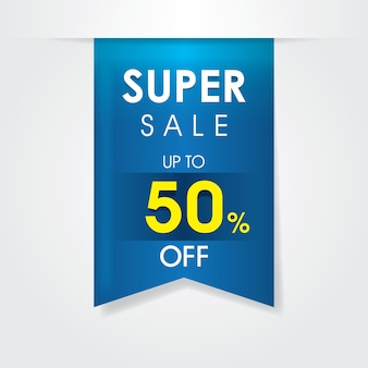 Conception de modèle de vente super ruban. étiquette de prix d'offre.