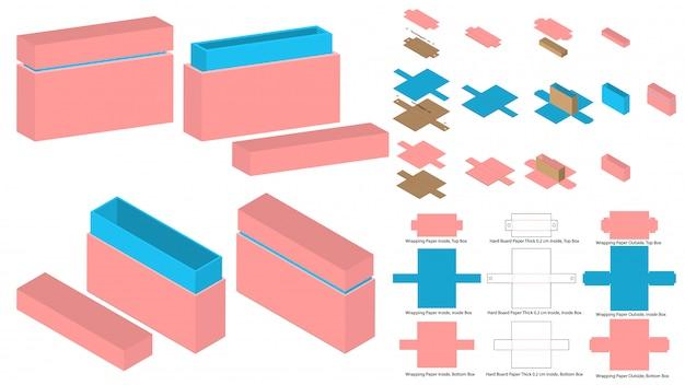 Conception de modèles découpés avec des matrices d'emballage de grande boîte à serrure. maquette 3d