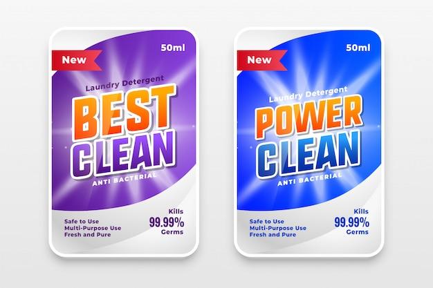 Conception de modèles d'étiquettes power wash et cleaner