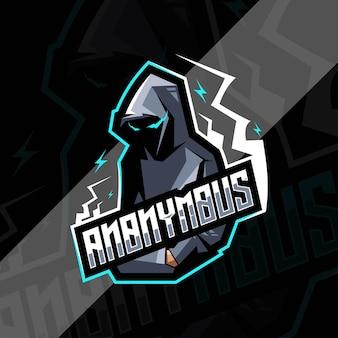 Conception de modèles de logo de mascotte anonyme secrète
