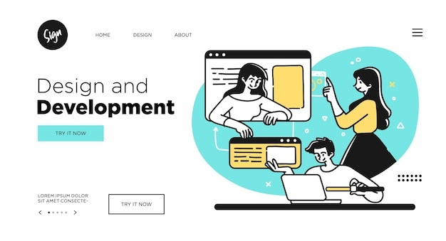 Conception de modèles de page web de concept de développement et de programmation de technologies