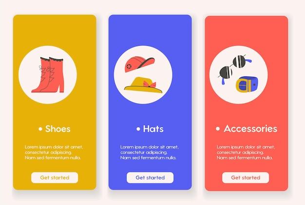 Conception de modèles pour les pages d'applications mobiles avec style fashion et shopping