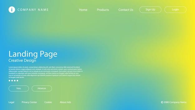 Conception moderne abstraite avec couleur pastel et effet de flou pour la page de destination du site web