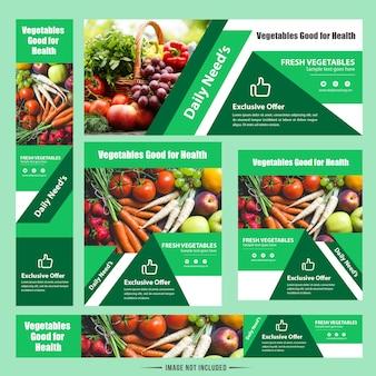 Conception moderne de bannière de web de légume de nourriture