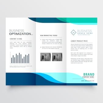 Conception moderne de brochure à trois volets avec des formes bleues