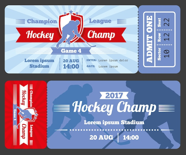Conception moderne de carte de billet de sport de hockey