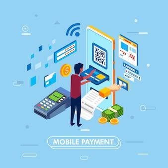 Conception moderne du concept de paiement mobile avec smartphone, illustrée en tant qu'homme insérant une carte de crédit pour smartphone