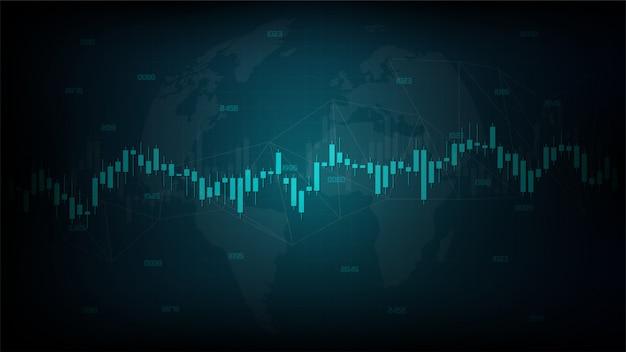 Conception moderne du graphique de bougie de bâton de trading d'investissement boursier sur un fond sombre.