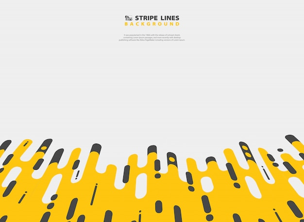 Conception moderne du motif de ligne abstraite bande noire jaune de fond de maille