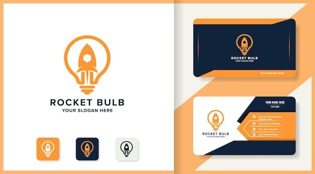 Conception moderne de logo et de carte de visite d'ampoule de fusée