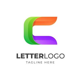 Conception moderne de modèle de lettre c logo coloré