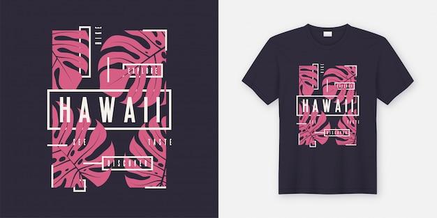 Conception moderne de t-shirt et de vêtements élégants d'hawaï avec des feuilles tropicales