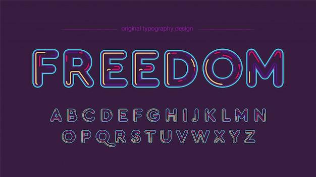 Conception moderne de typographie colorée au néon