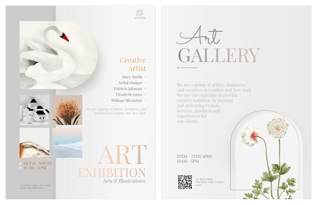 Conception modifiable de modèle de flyer de galerie d'art avec des fleurs blanches