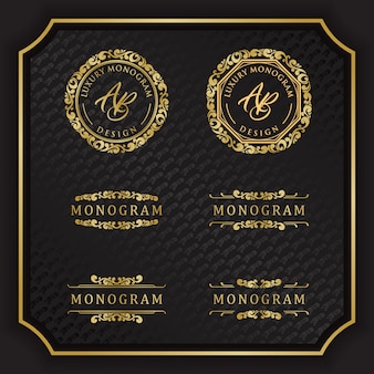 Conception de monogramme de luxe avec fond noir élégant