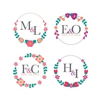 Conception de monogrammes de mariage floral