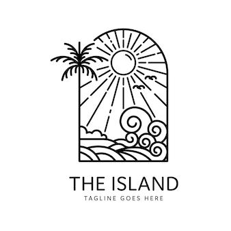 Conception monoline de palmiers et de vagues d'île tropicale d'été