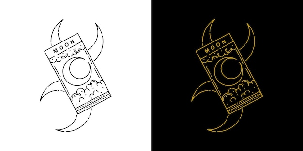 Conception de monoline de tatouage de carte de lune