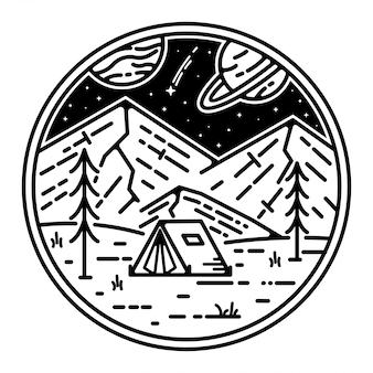 Conception de monoline de tatouage de paysage spatial