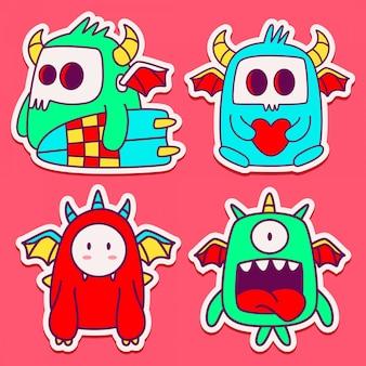Conception de monstre doodle dessin animé dessiné à la main