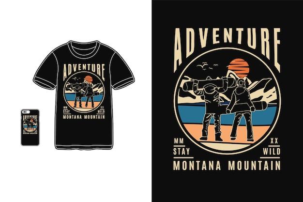 Conception de montagne aventure montana pour style rétro silhouette t-shirt