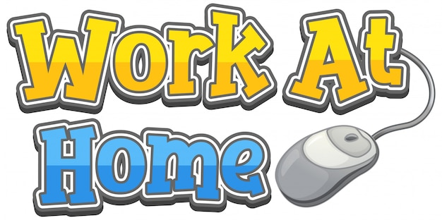 Conception de mot pour le travail à la maison sur fond blanc