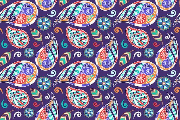 Conception de motif ethnique paisley coloré