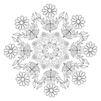Conception de motif de mandala exquis en noir et blanc