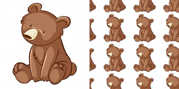 Conception avec motif sans couture petit ourson