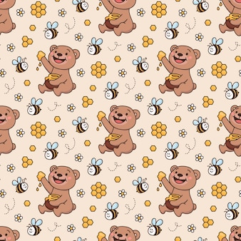 Conception de motif de surface avec ours en peluche amis abeilles miel daisy nid d'abeille