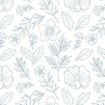Conception de motifs botaniques dessinés à la main de gravure