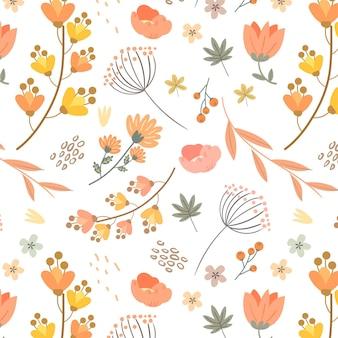 Conception de motifs floraux dans des tons pêche