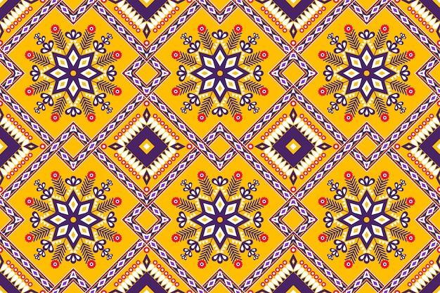 Conception de motifs géométriques ethniques asiatiques et traditionnels sans couture pour la texture et l'arrière-plan. décoration de motifs en soie et tissu pour tapis, vêtements, emballages et papiers peints