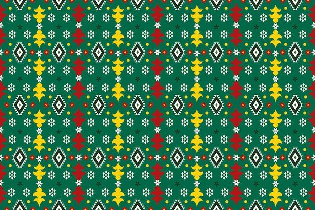 Conception de motifs géométriques ethniques asiatiques et traditionnels sans couture pour la texture et le bachground. décoration de motifs en soie et tissu pour tapis, vêtements, vacances de noël.