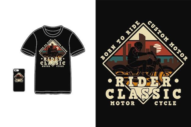 Conception de moto classique de cavalier pour le style rétro de silhouette de t-shirt