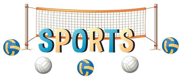 Conception de mots pour le sport avec ballon et filet