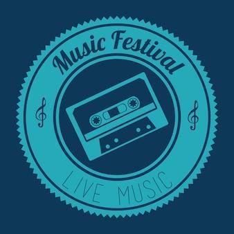 Conception de la musique au cours de l'illustration vectorielle fond bleu