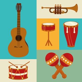 Conception de la musique au cours de l'illustration vectorielle fond coloré