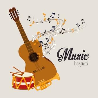 Conception de la musique au cours de l'illustration vectorielle fond gris