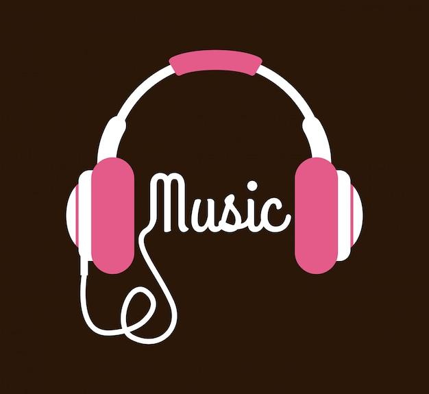 Conception de la musique au cours de l'illustration vectorielle fond marron