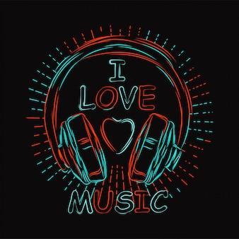 Conception de musique vecteur casque avec dessin au trait néon