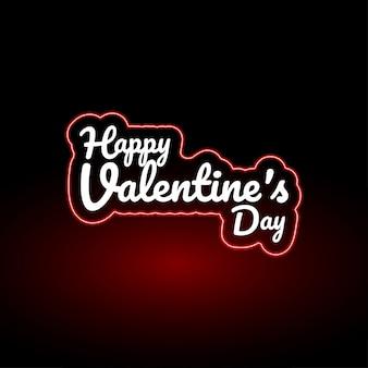 Conception de néon de texte happy valentines day