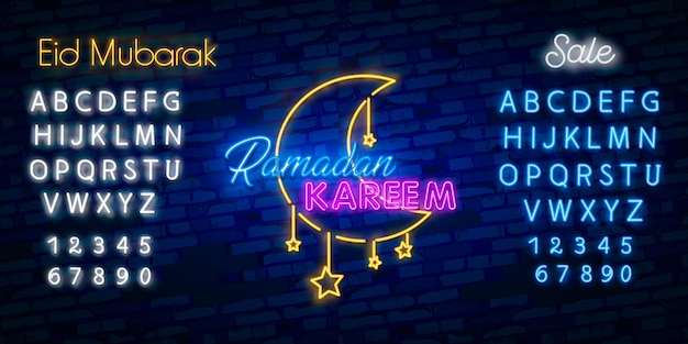 Conception de néon de vente ramadan kareem