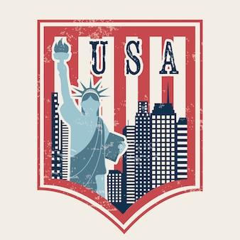 Conception de new york au cours de l'illustration vectorielle fond rose